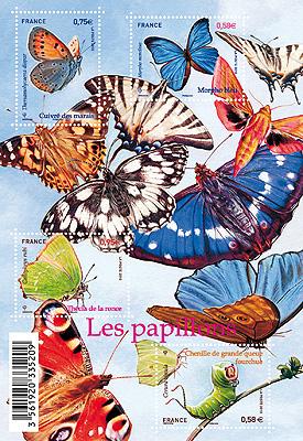 """bloc de timbres """"les papillons"""""""